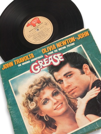 olivia: album vinyl record of grease- John Travolta