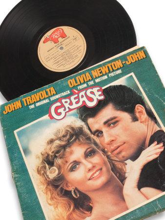 album vinylplaat van vet-John Travolta Redactioneel