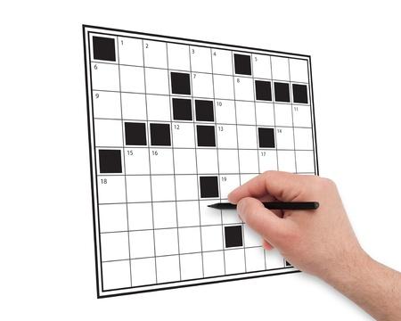 hand writing crossword on white Stock Photo