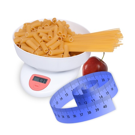 kitchen scale to be weighed with pasta photo