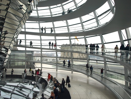 BERLIN,GERMANY- NOVEMBER 18:The dome of the Reichstag, the German parliament building, which cost 300 million euro is one of the most visited places in Berlin, now has about 20 million visitors on18,2012 in Berlin -Germany