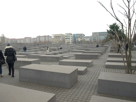 nazis: BERLIN,GERMANY- NOVEMBER 18: visitors at monument to the memory of Holocaust victims and nazis on18,2012 in Berlin -Germany