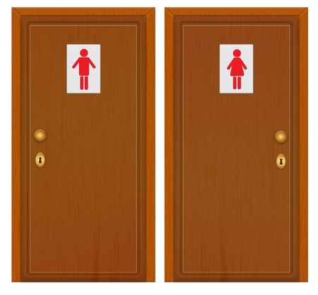 two doors with male female symbol photo