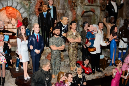 middleton: NAPLES, ITALY-DECEMBER 26: historic street of the old town of nativity scenes with puppets of famous people on December 26.2012 in Naples-Italy