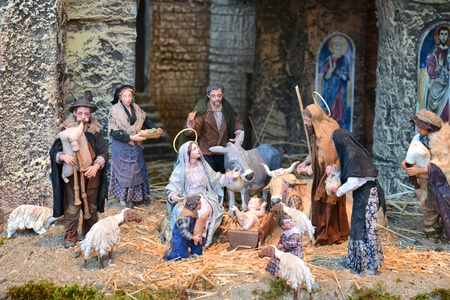 Nativity Scene in St Peter Church Stock Photo
