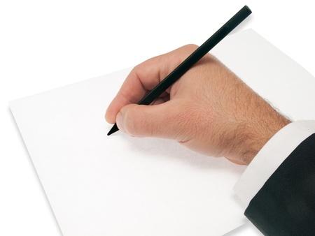 blanck: hand on blanck sheet hold pencil Stock Photo