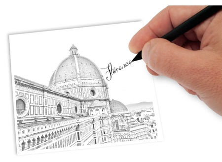 artist drawing florence italy Stock Photo - 17380127