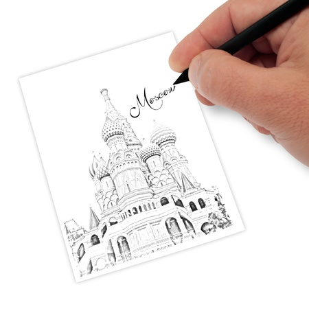 artist drawing landscape of moscow Stock Photo - 17380120