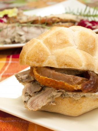 crisp sandwich with roast pork Stock Photo