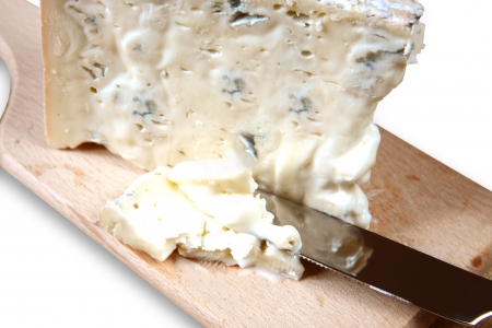 typical gorgonzola spicy cheese with herbs Stock Photo