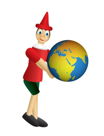 collodi: puppet pinocchio on white background Stock Photo