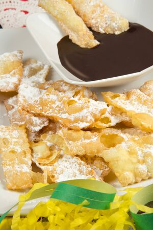 chiacchiere: chiacchiere, italian fried carnival cookies with icing sugar Stock Photo