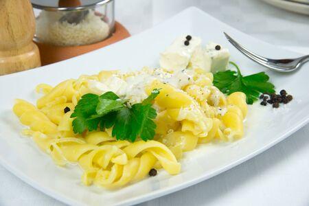 mascarpone:  Curls  with gorgonzola and mascarpone