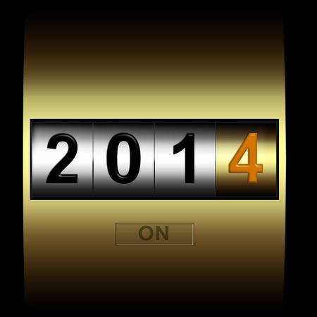 metalen teller datum nieuwe jaar 2014