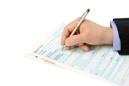 business consultant checks the tax forms of the f24 Stock Photo