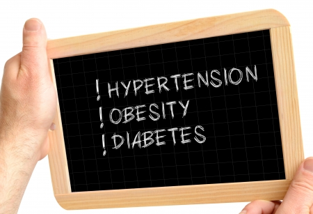 diabetes: blackboard in the hands concept with the most common diseases of the century