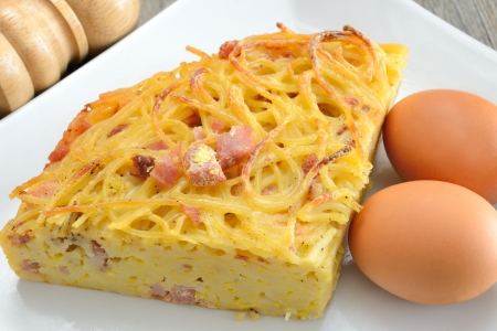the  then: spaghetti frittata with eggs cheese and bacon then fried in a pan