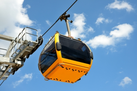 modern cable car with advanced technology from high mountain photo