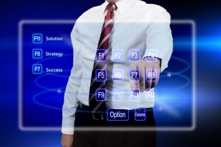 holographic: uomo d'affari sceglie il successo sullo schermo olografico