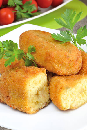 zeppole: typical neapolitan food  potato croquettes fried made ​​with mozzarella cheese and diced bacon