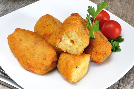 typical neapolitan food  potato croquettes fried made ​​with mozzarella cheese and diced bacon