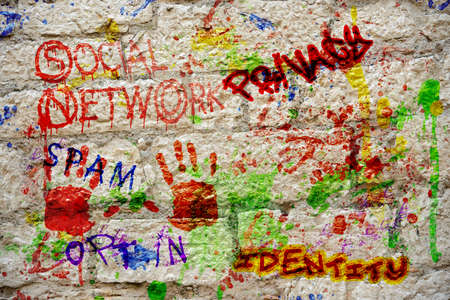 opt: murales concept  various text spray varnish social network terms Stock Photo