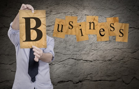 businessman show b letter to complete word business