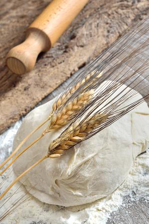 ピザとパンの発酵生地作った小麦粉、水、酵母、塩