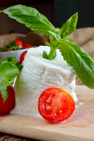 chese: italian fresh cheese called ricotta with tomatoes and basil