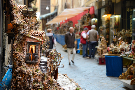 NAPLES, ITALY- OCTOBER 30  San Gregorio Armeno in Naples is the way the world of the crib and every year it is visited by tens of thousands of tourists from around the world on October 30, 2013 in Naples 報道画像