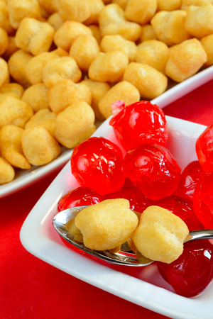 neapolitan: struffoli neapolitan food in Christmas time- fried pastry with honey