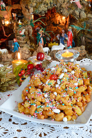christmas time: struffoli neapolitan small pastry in Christmas time
