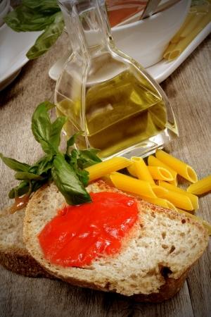 bruschetta with tomatoe sauce fresh basil olive oil