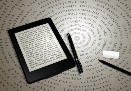 modern ebook reader on book on abstract font background Stock Photo