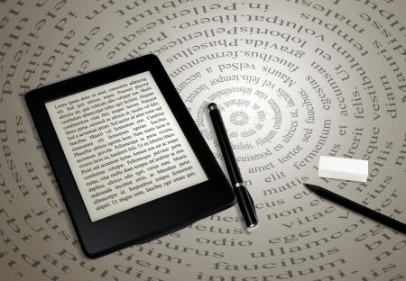 moderne ebook reader op boek op abstracte achtergrond van het lettertype Stockfoto