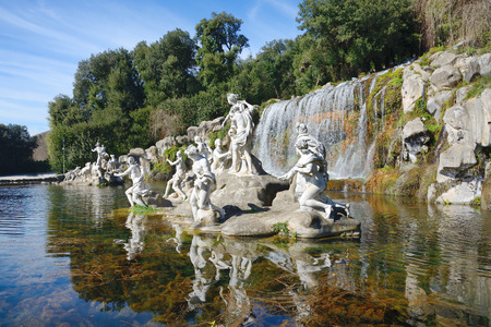 Atteone and Diana's fountains waterfalls water gardens of the Royal Palace of Caserta, Italy