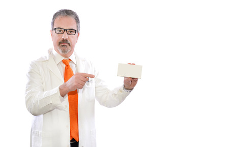 mature doctor show box of medicine pills photo