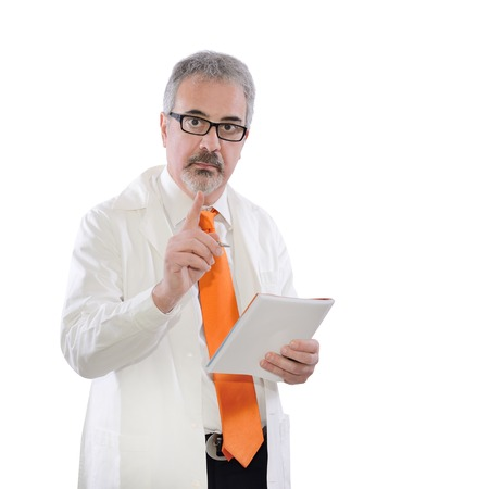 mature doctor with white coat warns with his finger photo