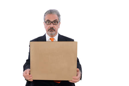careerist: Man holds a cardboard box in his hand Stock Photo