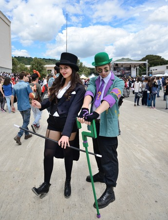 NAPLES, ITALY- MAY 4: for the sixteenth edition of the international cartoon Comicon,meet all lovers of comics, manga and cosplay phenomenon. Boom up of 20,000 visitors  on  may, 2014 in Naples