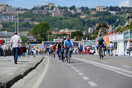 NAPLES, ITALY-MAY 11 An ordinance of the Mayor requires the car to stop the ecological Sundays once a month All citizens turn to walk or bike on may 11, 2014 in Naples