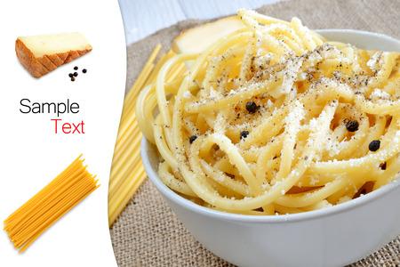 caciocavallo: italian pasta bucatini with pecorino cheese and black pepper