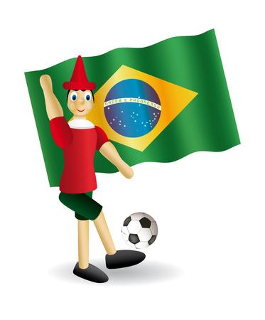 collodi: puppet wooden football vector  brazilian flag background