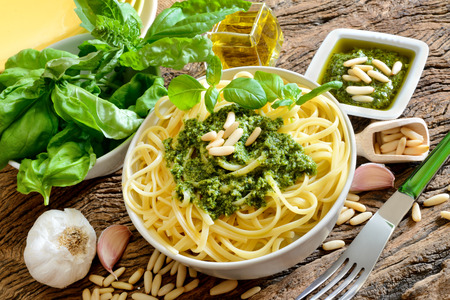 italian traditional linguine pasta by genovese pesto sauce 写真素材