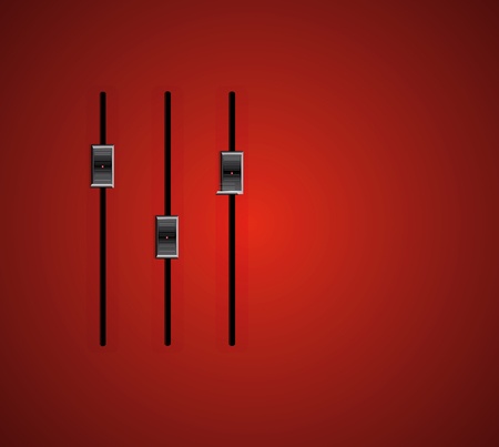 three audio stereo slider on red gradient background Иллюстрация