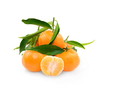natural fresh clementines on white background photo
