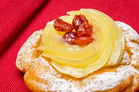 zeppola: typical neapolitan pastry called zeppola di san giuseppe