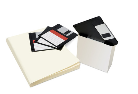 disks: Floppy disks and blank book