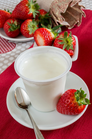 lowfat: low-fat plain creamy yogurt strawberry flavor