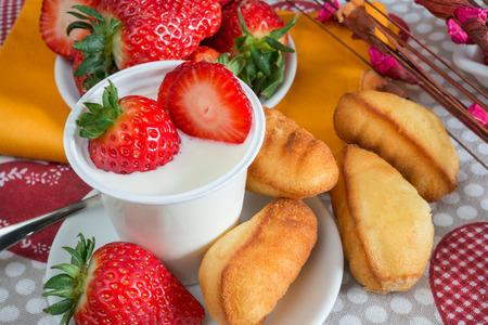 lowfat: low-fat plain creamy yogurt strawberry flavor and sponge cake Stock Photo